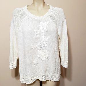 Tommy Hilfiger cream appliqued sweater, xl